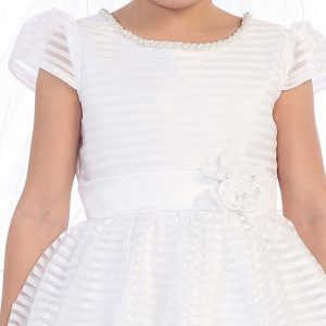 First Communion Dress with Puffed Cap Sleeves