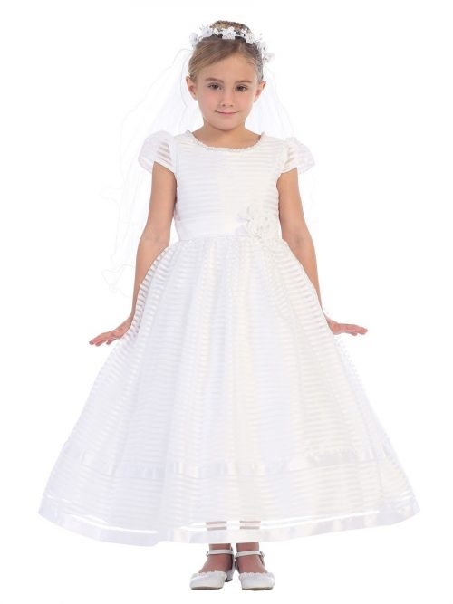 First Communion Dress Horizontal Striped with Puffed Cap Sleeves