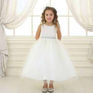 Ivory First Communion Dress Shiny Waist Band and Tulle Skirt