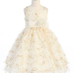 ivory communion dress embroidered floral double layer skirt