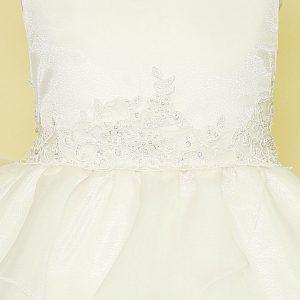 ivory first communion dress multi layered skirt applique waistline