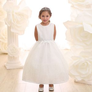 ivory first communion dress with raindrop crystals