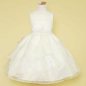 ivory tea length first communion dress multi layered skirt applique waistline