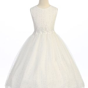 ivory tea length first communion dress with raindrop crystals