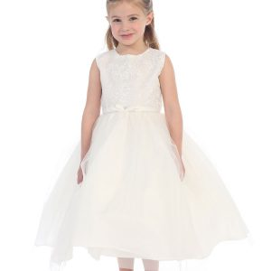 Ivory First Communion Dress with Lace Bodice and Tulle Skirt