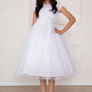 Lace Bodice First Communion Dress Pearl Jewels