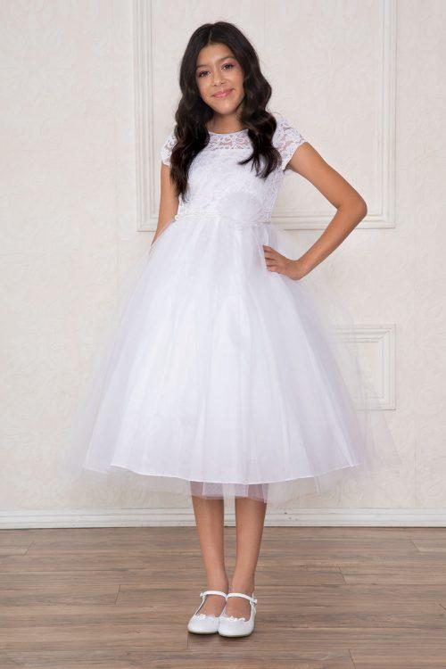 Lace Bodice First Communion Dress Pearl Jewels