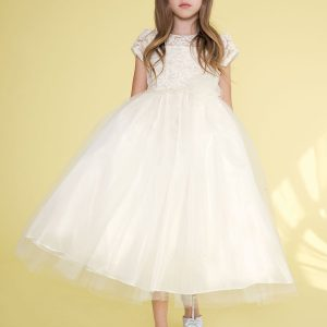 lace bodice with pearl waist fivory irst communion dress