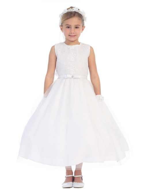 First Communion Dress with Lace Bodice and Tulle Skirt