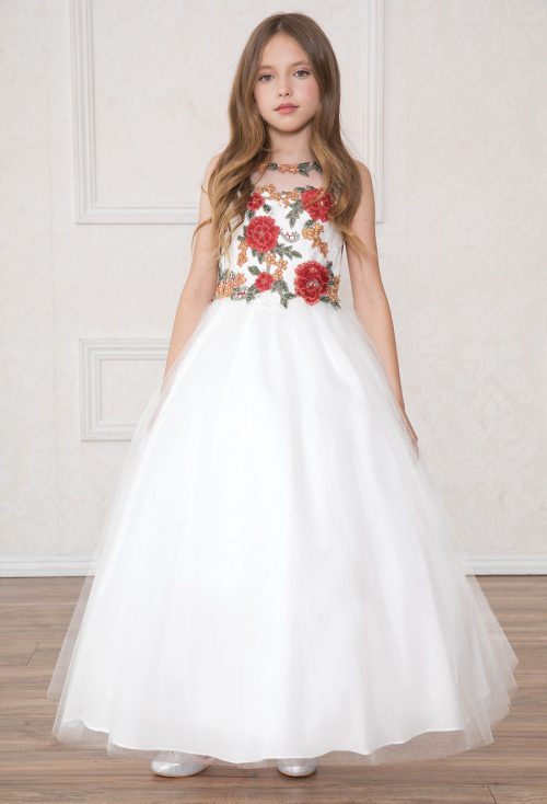 long length first communion dress with multi color floral bodice
