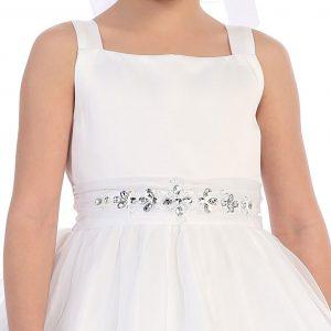 Satin First Communion Dress Rhinestone Waist
