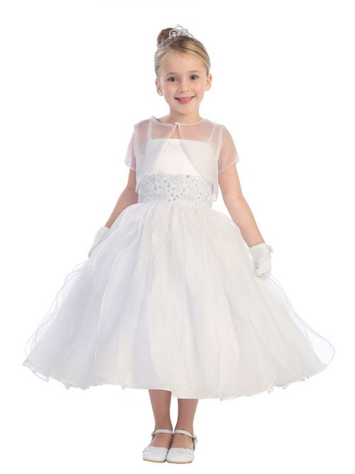First Communion Dress with Lace waistline Ruffled Skirt