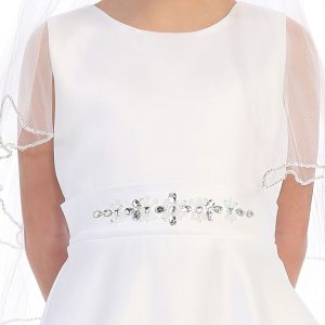 A Line First Communion Dress Beaded Sash