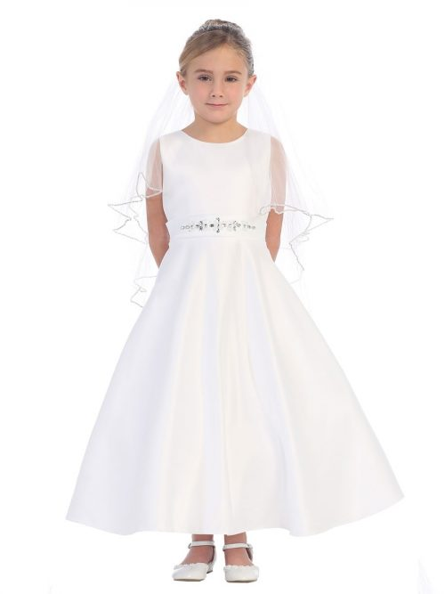 Satin A Line First Communion Dress Beaded Sash