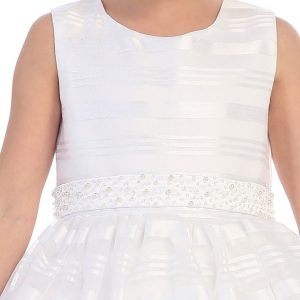 First Communion Dress Satin Stripes Overlay
