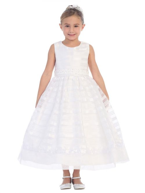 First Communion Dress Satin Horizontal Stripes Overlay