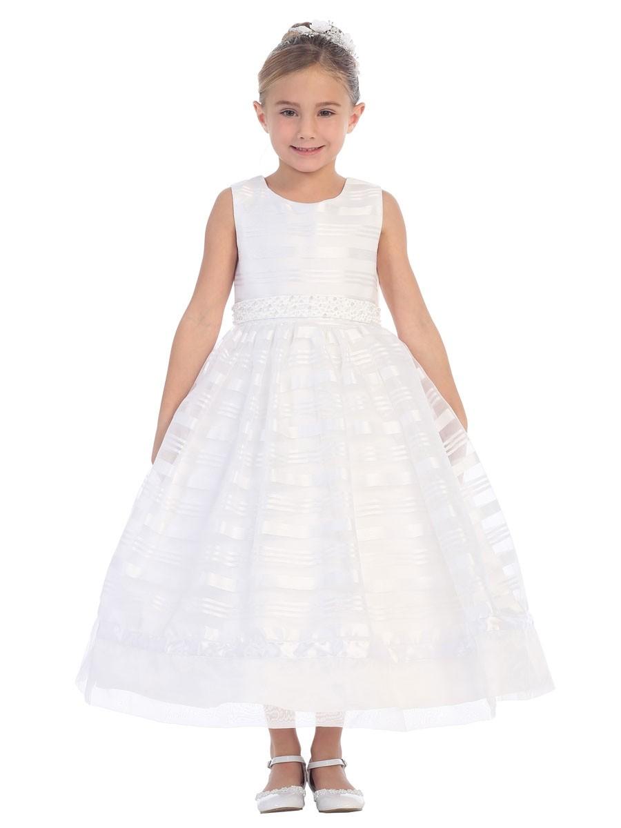 First Communion Dress Satin Horizontal Stripes Overlay