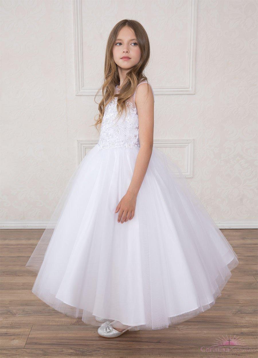 c81a37d34dd First Communion Dress Floral Bodice Corset Back