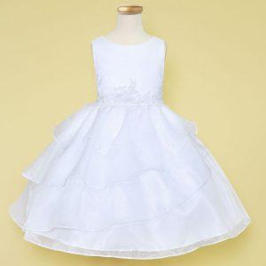 tea length first communion dress multi layered skirt applique waistline