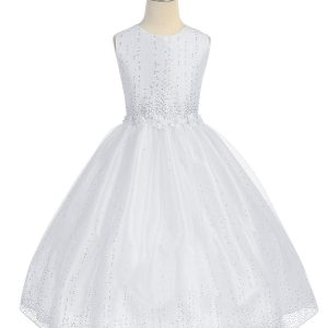 tea length first communion dress with raindrop crystals
