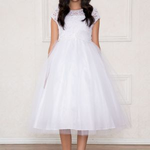 tea length lace bodice with pearl waist first communion dress