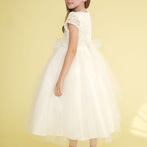 tea length lace bodice with pearl waist ivory first communion dress