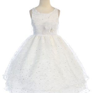 white communion dress embroidered floral double layer skirt