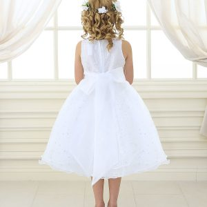 white first communion dress embroidered floral double layer skirt