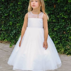 White First Communion Dress Mesh Bodice Illusion Neckline
