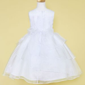 white first communion dress multi layered skirt applique waistline