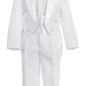 Boys White First Communion Tuxedo Suit 5 Piece