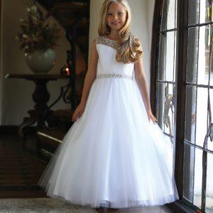 Beautiful First Communion Dress with Intricate Beadwork