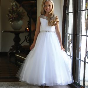Beautiful First Communion Dress with Intricate Beadwork