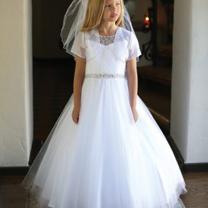 Couture First Communion Dress with Intricate Beadwork