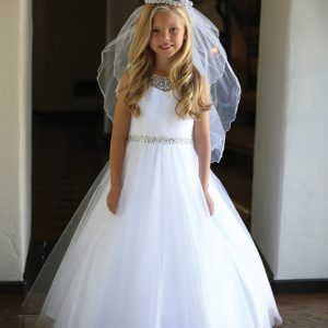 Girls First Communion Dress with Intricate Beadwork