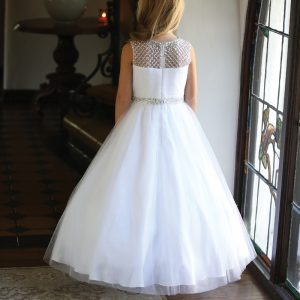 Stylish First Communion Dress with Intricate Beadwork