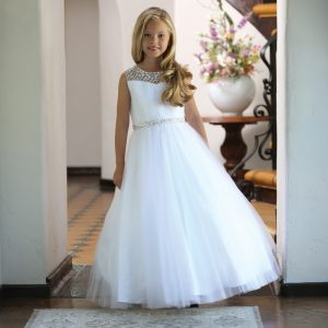 White First Communion Dress with Intricate Beadwork