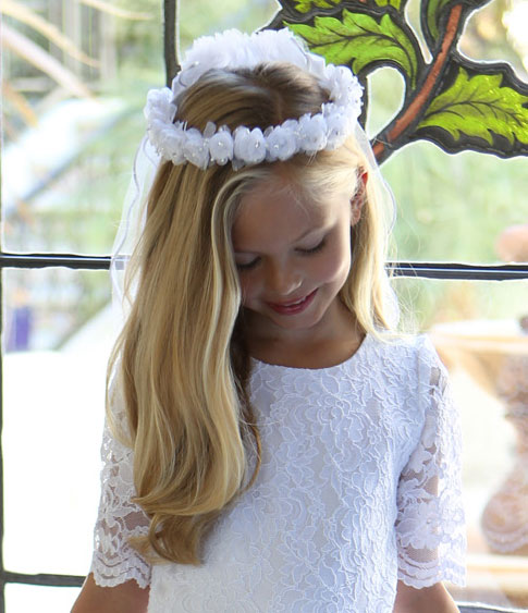 First Communion Wreath Veil with Flowers