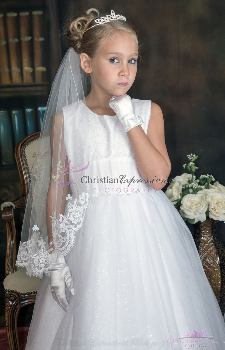 Irish Lace First Communion Veil with Shamrocks