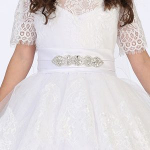 Lace First Communion Ball Gowns with Sleeves