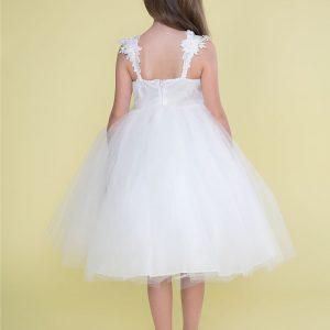1st Communion Dress with Floral Shoulder Strap