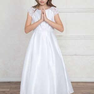 A Line First Communion Dress with Lace Cap Sleeves