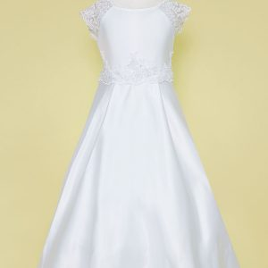 A Line Satin First Communion Dress with Lace Cap Sleeves