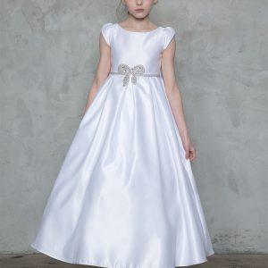 A Line Satin Long First Communion Dress