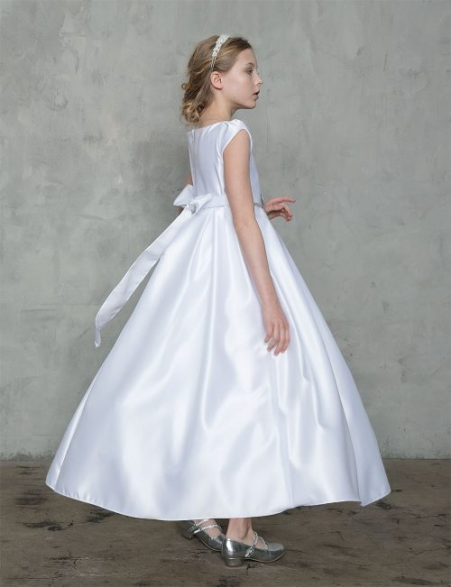 A Line Satin Long Length First Communion Dress