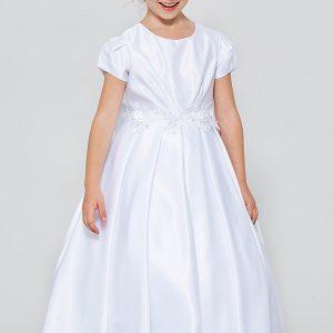 All Satin Tea Length First Communion Dress