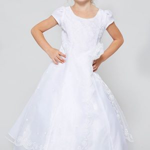 Cheap Organza First Communion Dress with Layered Skirt