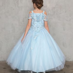 Elegant Off Shoulder Lace Sleeve First Communion Gown