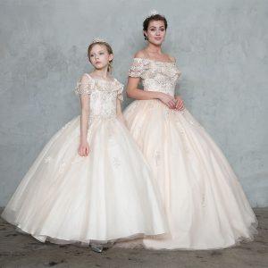 Elegant Off Shoulder Lace Sleeve Flower Girl Gown