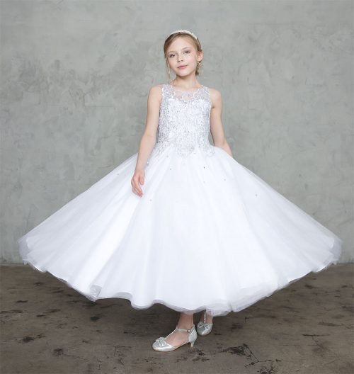 First Communion Ball Gown with Beaded Bodice
